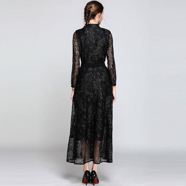 Women Casual Lace Long Dress New 2018 Autumn Vintage China Style Big Swing A-line Ladies Elegant Party Dresses N343