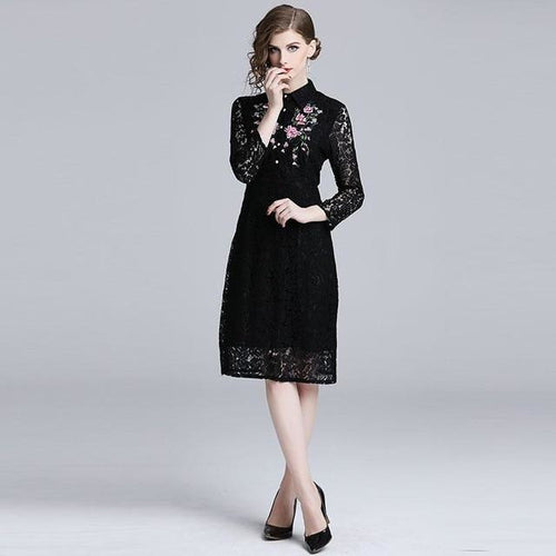 Women Casual Lace Dress New Brand 2019 Spring Fashion Luxury Floral Embroidery Elegant Ladies Party Dresses N425
