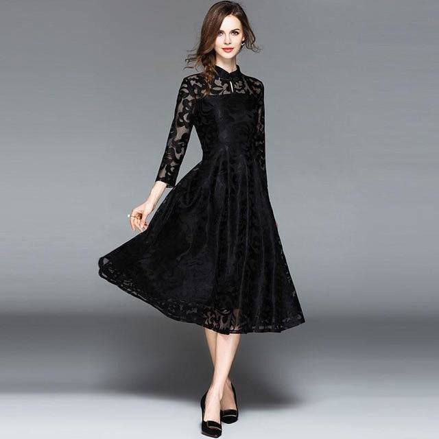 3dfd00c6888 Ladies Evening Party Dress New 2018 Autumn Fashion England Style Elegant A-line  Women Casual