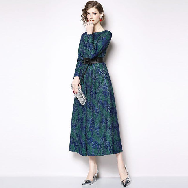Luxury Elegant Ladies Party Dresses New Brand 2019 Spring Vintage Big Swing A-line Women Casual Lace Long Dress N409
