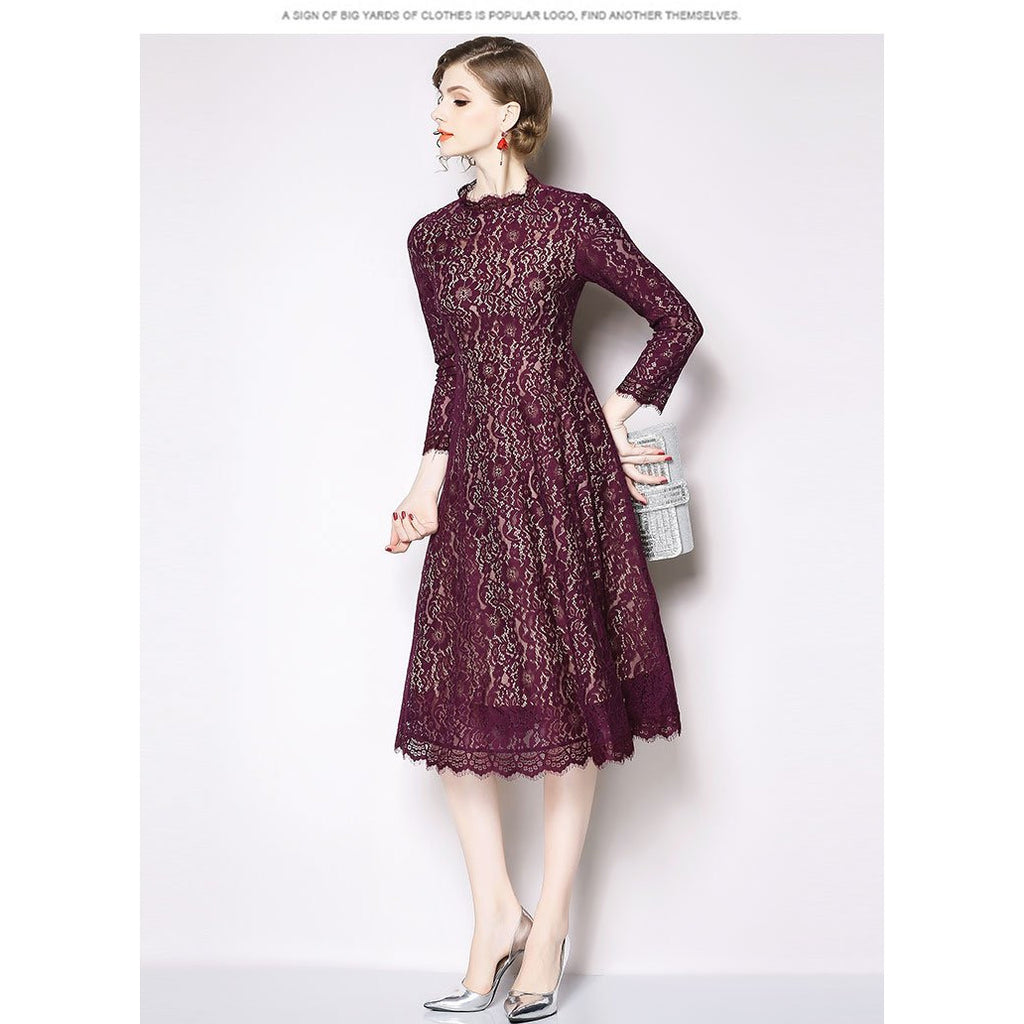 Women Casual Lace Long Dress New Brand 2018 Autumn Fashion Big Swing A-line Eleagnt Luxury Ladies Party Dresses N391