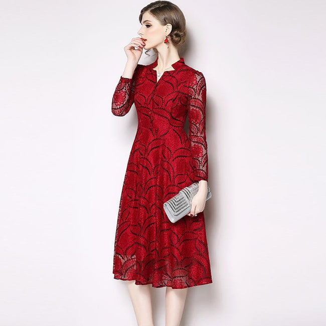 Women Casual Lace Long Dress New 2018 Autumn Fashion England Style V-neck A-line Elegant Ladies Party Dresses N390