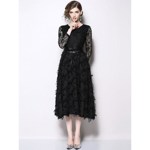 Luxury Black Lace Ladies Party Dress New 2018 Autumn Fashion V-neck Elegant A-line Women Casual Long Dresses N388