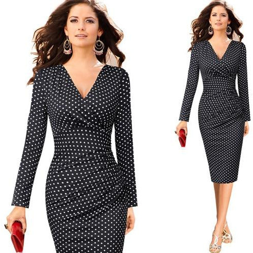 Vfemage Womens Elegant V Neck Ruched Floral Print Work Casual Cocktail Party Slim Fitted Bodycon Pencil Faux Wrap Dress 559