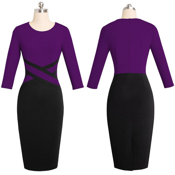 Nice Forever Vintage Elegant Contrast Color Patchwork Wear To Work Vestidos Business Party Office Women Bodycon Dress B463