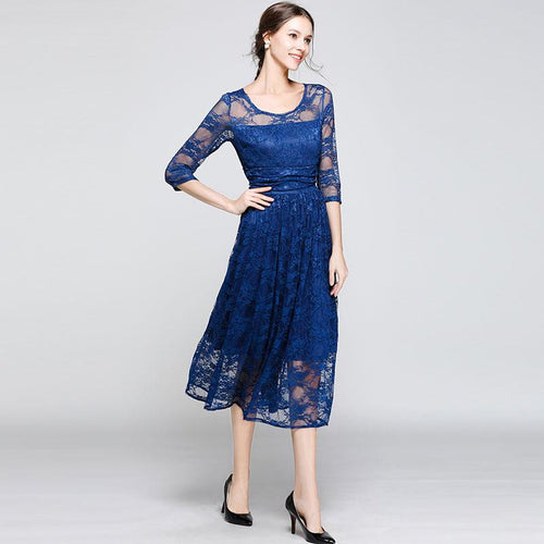 Luxury Lace Ladies Elegant Blue Party Dress New 2018 Autumn Fashion O-neck A-line Women Casual Long Dresses N342