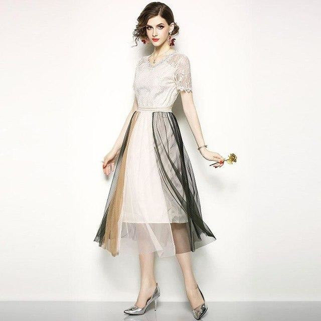 Sweet Gauze Patchwork V-neck Female Lace Long Casual Lace Dress