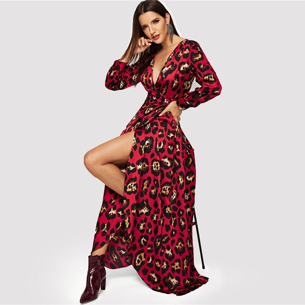 Leopard Wrap V Neck Long Sleeve Print Maxi Dress