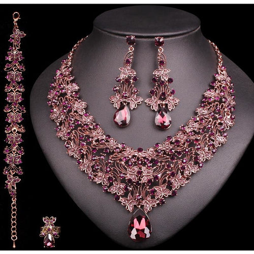 Vintage Necklace Earrings Sets Retro Indian Fashion Jewelry Sets