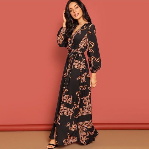 Multicolor V Neck Long Sleeve Maxi Wrap Print A Line Dress