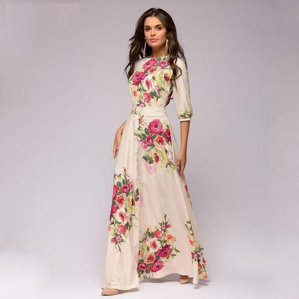 Cream with Flowers half sleeve Long  Elegant Maxi Dress