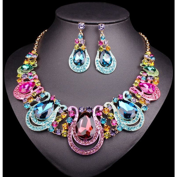 Fashion Water Drop Crystal Necklace Earrings Sets Bridal Jewelry Sets Gold Color Wedding Accessories for Brides Women Presents