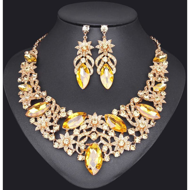 Mecresh Leaf Crystal Wedding Jewelry Sets for Women Silver Color Rhinestone Bridal Necklace Earring Sets Jewelry MTL433+MSL204