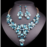Fashion Crystal Gold Color Necklace Earrings sets Indian Bridal Jewelry Sets for Brides Wedding Party Costume Accessories women