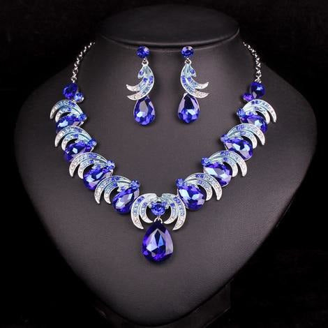 New Fashion Indian Rhinestone Bridal Jewelry Sets Wedding Prom Party Accessories Necklace Earrings Set For Brides Women