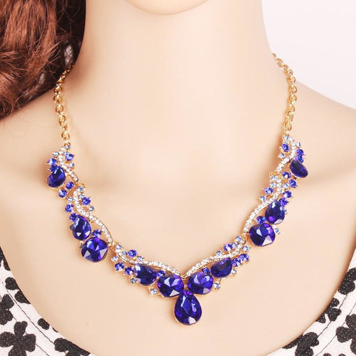 Fashion jewelry sets ' crystal gold color necklace