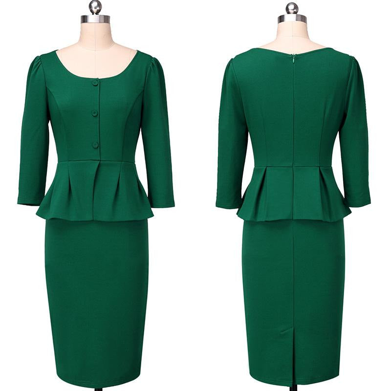 Green Buttons Puff Sleeve Office Bodycon Pencil Sheath Dress