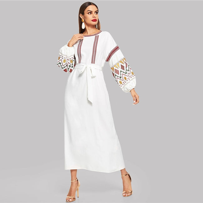 Multicolor High Waist Belted Sleeve Maxi A-Line Dress