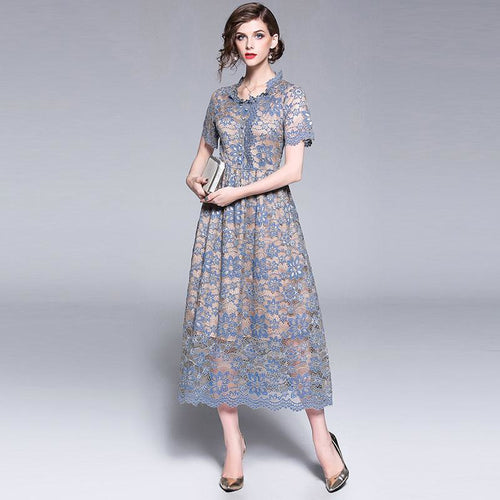 High Quality Women Lace Long Dress New 2018 Summer Fashion England Style Elegant Slim Ladies Party Dresses M475