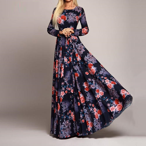 Fashion O Neck Long Sleeve Floral Maxi Dress