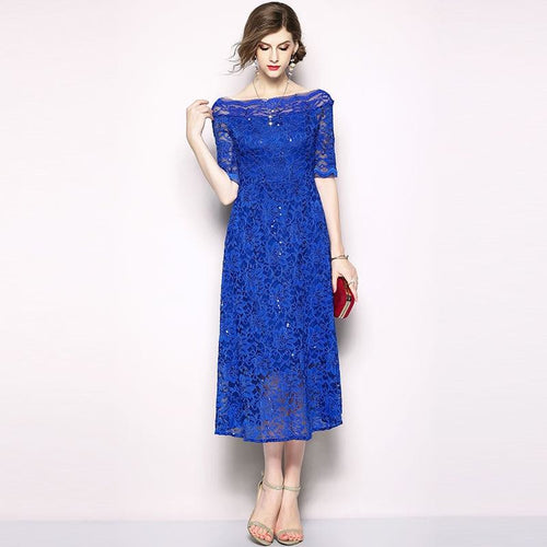 Blue England Style Slash Neck Blue Lace Elegant Women Evening Party  Lace Dresses Hot Sale M504