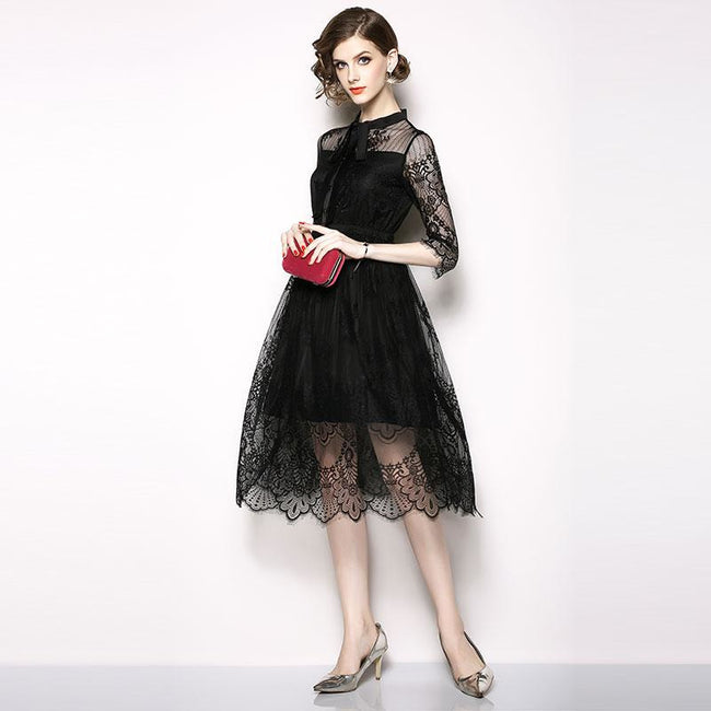 Black Elegant Hollow Out Lace A-line Dress