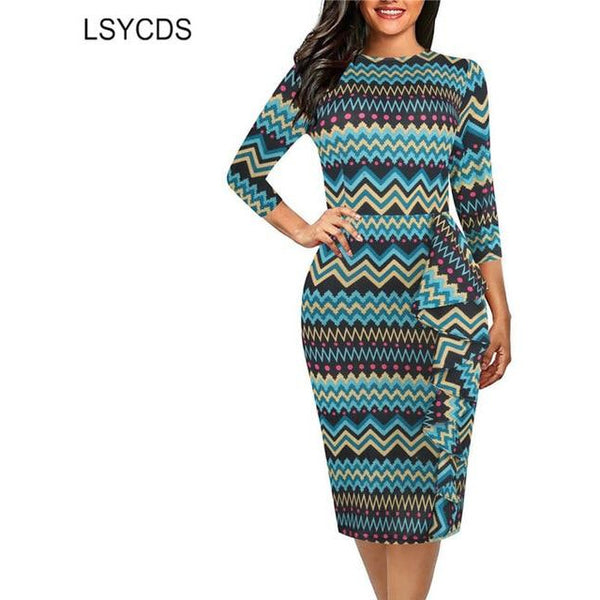 LSYCDS Woman Dress 2019 Autumn Fall Spring Dress Ladies Elegant Slim O-Neck 3/4 Sleeve Women Dresses Femme Office Lady Dresses