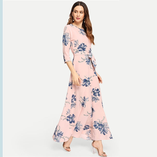 Pink Tie Waist Long Sleeve Maxi A Line Floral Dress