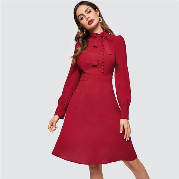 Burgundy Buttoned A-Line Dress – Jewish girl e3559c88a92a