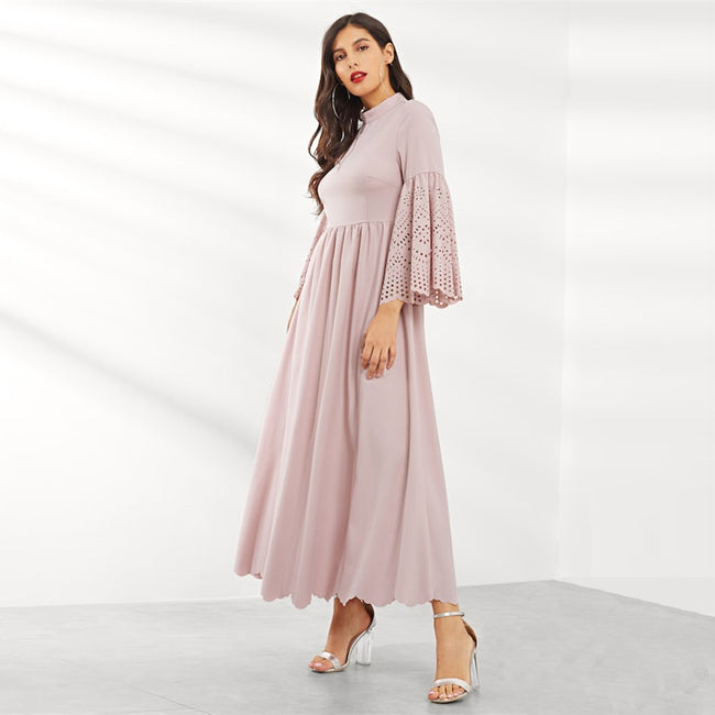 Pink Flounce Sleeve High Waist A Line Maxi Dress