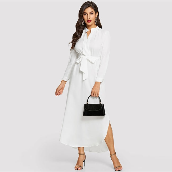 White V Neck Belted Shirt High Waist A Line Maxi Dress