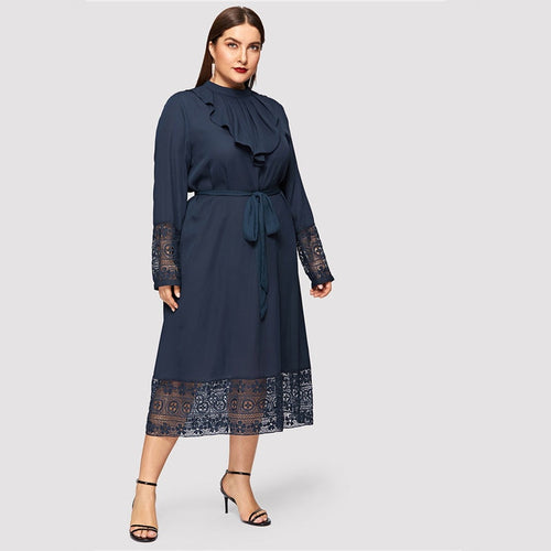 Navy Women Plus Size Elegant Belted Ruffle Lace Maxi Dress