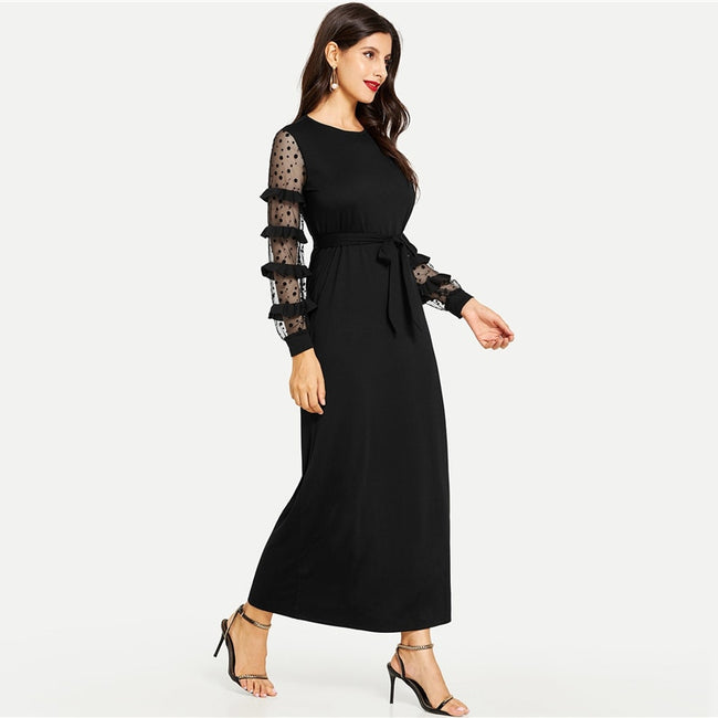 Black Contrast Dot Ruffle Mesh Sleeve Straight Belted Maxi Dress