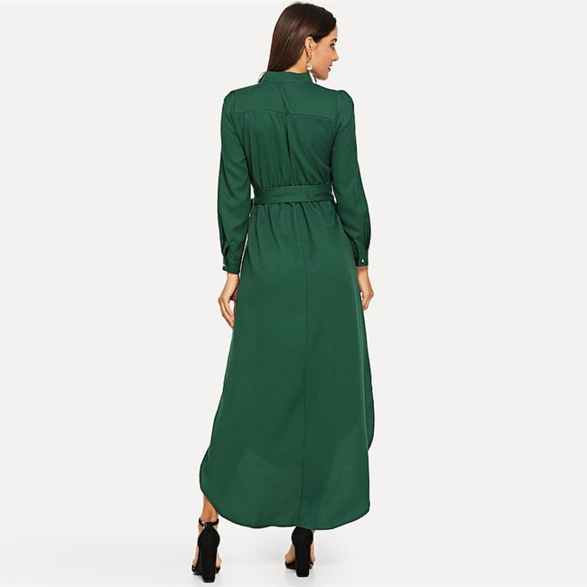 Green Casual Belted Straight Maxi Dress
