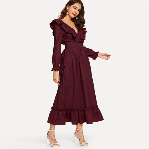 Burgundy Backless Wrap V Neck Ruffle A Line Maxi Dress
