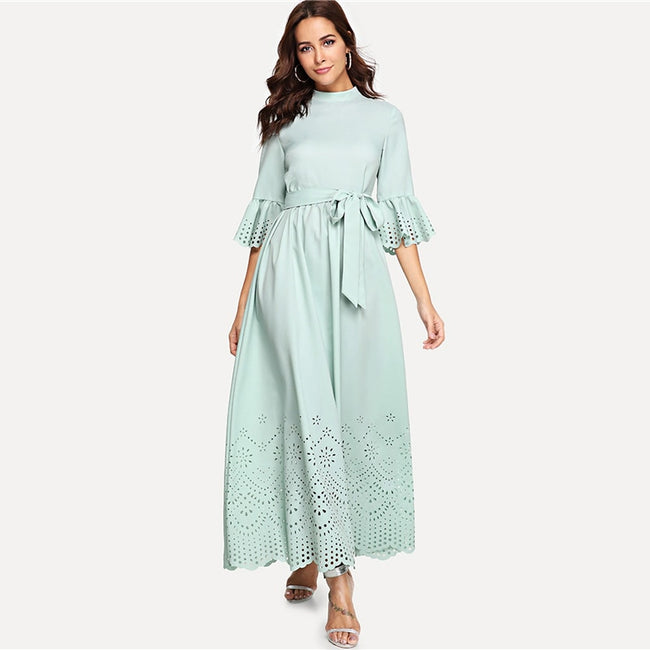 Green Hollow Out Half Sleeve A Line Maxi Dress
