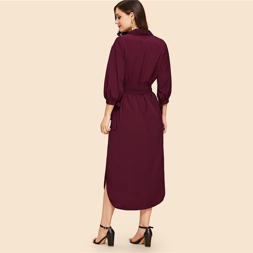 Burgundy Belted Half Sleeve Solid Straight Lace Up Maxi Dress