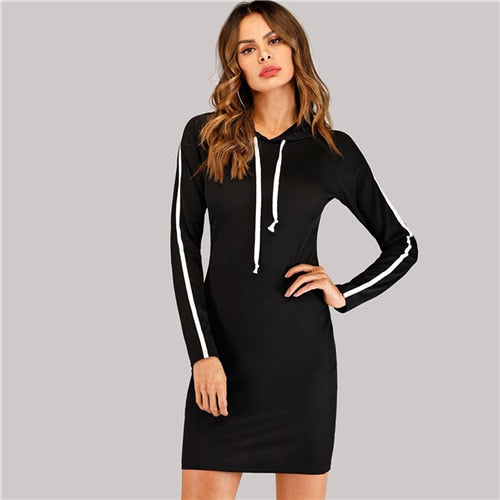 Black Side Hooded Sporty Long Sleeve Sweatshirt Dress
