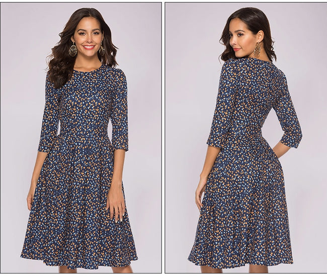 Casual Floral Printed Elegant 3/4 Sleeve A-line Dress