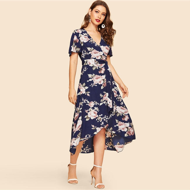 Navy Boho Wrap Floral Deep V Neck A Line Maxi Dress