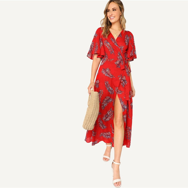Red Surplice Wrap Knot Leaves Print V Neck Half Sleeve Maxi Dress