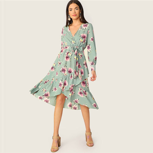 a4baa643c2 SHEIN Ruffle Trim Wrap Belted Floral Midi Dress Women Spring Lantern Sleeve  V Neck Boho Dress 2019 High Waist Long Sleeve Dress