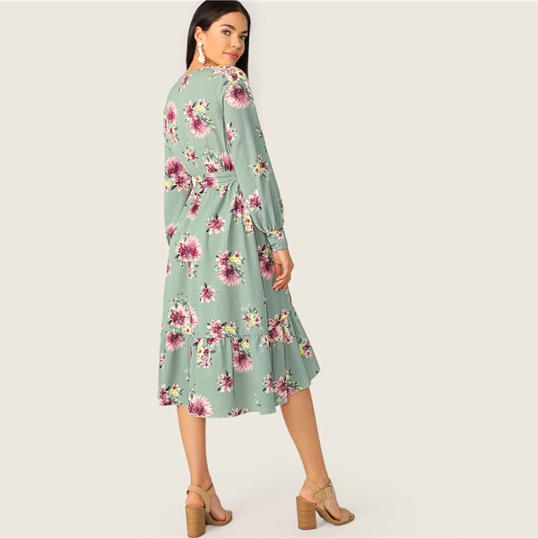SHEIN Ruffle Trim Wrap Belted Floral Midi Dress Women Spring Lantern Sleeve V Neck Boho Dress 2019 High Waist Long Sleeve Dress