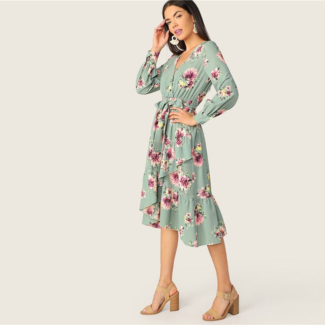 Floral O-neck  Casual  Summer A-Line Dress