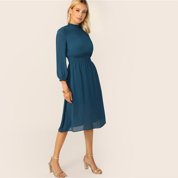 Blue Frill Neck Shirred Yoke and Waist Midi Back Dress