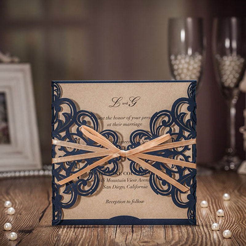 Royal Blue Laser Cut Wedding Invitations Card Greeting Cards With