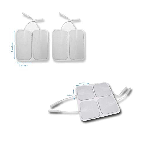 Tens Unit Patches Pads Electrodes 4 Pieces Large 2 x 4 inches 4 pieces small 2 x 4 inches [FITS ON NUEMEDICS FLEX MODEL]