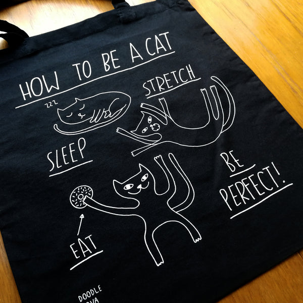 How To Be A Cat Tote Bag Black