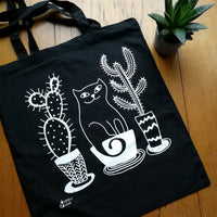 Cat And Cacti Tote Bag Black