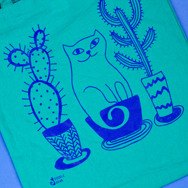 Cat And Cacti Tote Bag Emerald